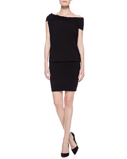 Donna Karan Off-the-Shoulder Twisted-Neck Dress, Black