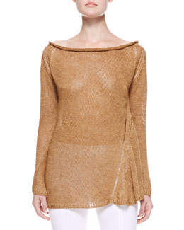 Donna Karan Slash-Neck Linen Top, Clay