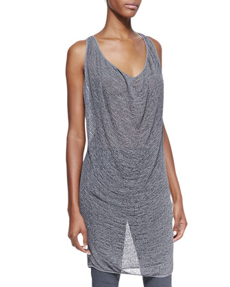 Sleeveless Draped Cowl Tunic