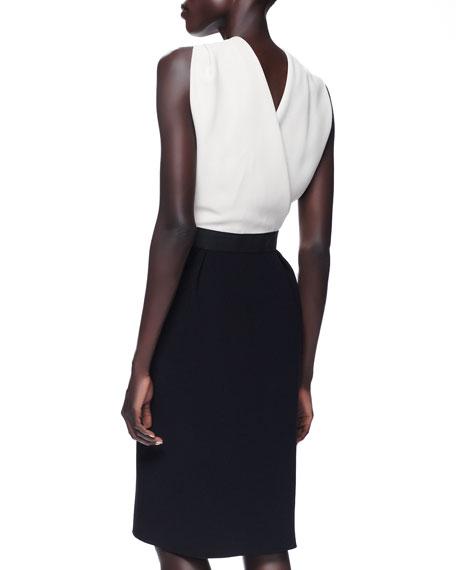 Twist-Halter Colorblock Dress, Taupe/Black