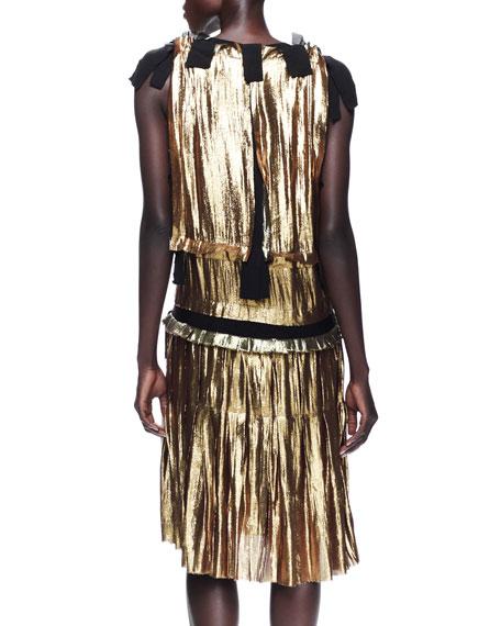 Metallic Drop-Waist Dress, Gold