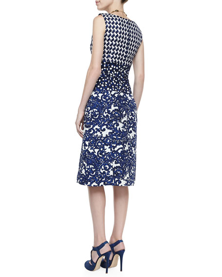 Mixed Check & Lace Printed Dress, Lapis