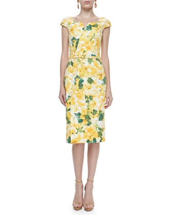 Cap-Sleeve Floral-Print Dress, Yellow