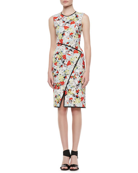 Fitted Floral Dress with Envelope Wrap Skirt