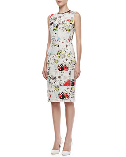 Erdem Maura Fitted Floral Patchwork Dress