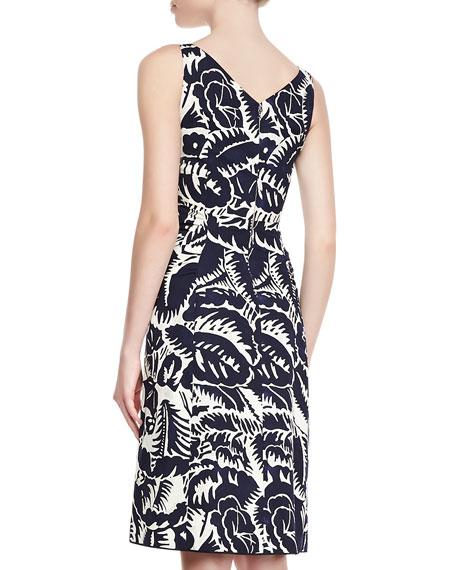 Sleeveless V-Neck Sheath Dress, Navy