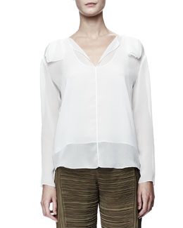 Chloe Long-Sleeve Georgette Blouse, White