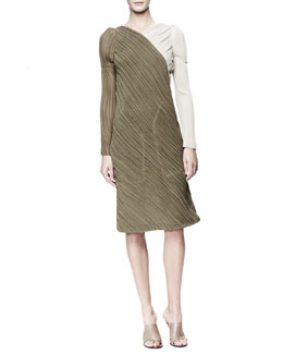 Chloe Long-Sleeve Asymmetric Georgette Dress, Khaki/Cream