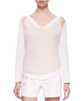 3.1 Phillip Lim V-Neck Sweater with Cold Shoulders