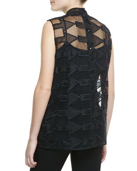 Arrow & Flower-Embroidered Tank, Black