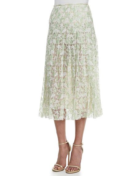 Plasma Pleated Lace Midi Skirt