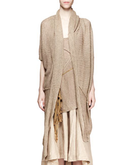 Donna Karan Short-Sleeve Cozy Cardigan, Sisal