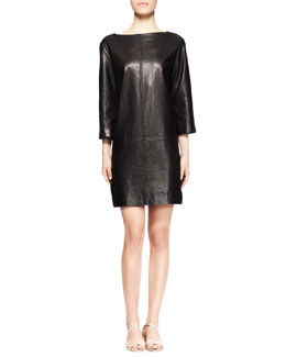 THE ROW Letacey Whipstitch Leather Dress