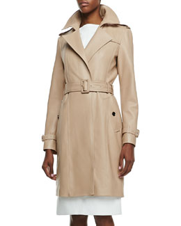 Burberry London Leather No-Button Trenchcoat