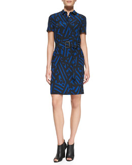 Burberry London Short-Sleeve Printed Silk Shirtdress, Blue