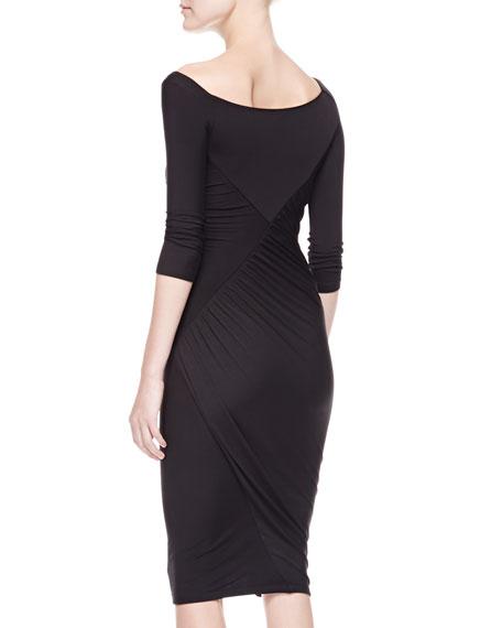 3/4-Sleeve Cold-Shoulder Twist Dress, Black