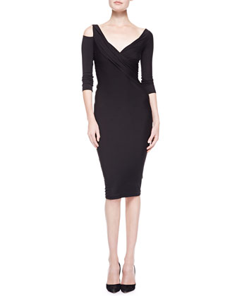 3/4-Sleeve Cold-Shoulder Twist Dress, Black