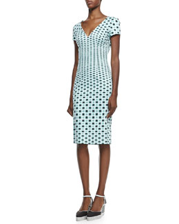 Carolina Herrera Short-Sleeve Dotted-Print V-Neck Dress