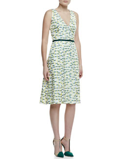 Carolina Herrera Crosshatch-Print Silk A-Line Dress, Green/Yellow