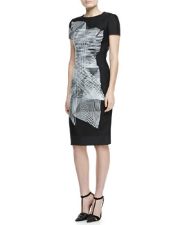 Carolina Herrera Spiral-Morph T-Shirtdress, Black/White