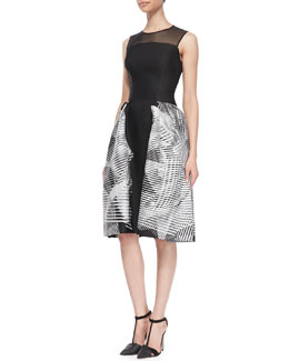 Carolina Herrera Sleeveless Spiral Jacquard Dress