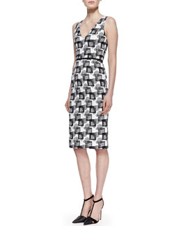 Carolina Herrera V-Neck Square Jacquard Dress