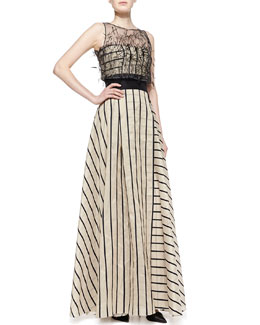 Carolina Herrera Striped Gown with Sleeveless Illusion, Black/Beige