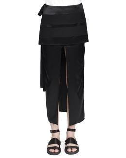 Satin Double-Layer Kimono Skirt