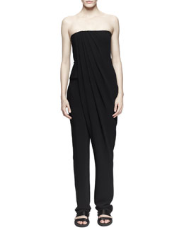 Strapless Pleat-Front Jumpsuit