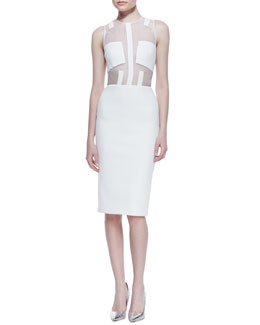 Cushnie et Ochs Shear Top Dress with Patches, White