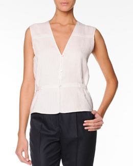 Giorgio Armani Sleeveless Silk Top with Button Front, Porcelain