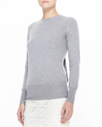 Open-Back Knit Sweater with Bow, Gray