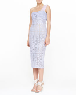 Burberry Prorsum One-Shoulder Floral Lace Twisted Midi Dress, Pale Lavender