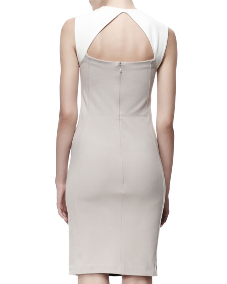 Open-Back Sleeveless Colorblock Dress, Black/White/Tan