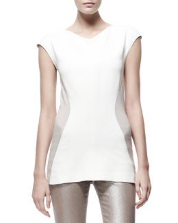 Stella McCartney Contour Colorblock Jersey Tee, Cream/Tan