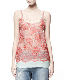 Stella McCartney Heirloom Floral Lace-Overlay Tank, Chili