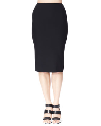 Single Crepe Pencil Skirt, Black