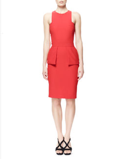 Alexander McQueen Leaf Crepe Halter Dress with Peplum, Red