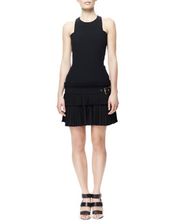 Alexander McQueen Fitted Buckled Kilt-Skirt Tank Dress, Black