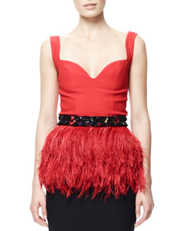 Alexander McQueen Ostritch Feather Peplum Top with Beaded Belt