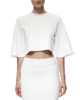 Alexander McQueen Crocodile-Embossed Crop Top