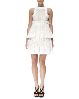 Alexander McQueen Tiered Laser-Cut Cotton Dress