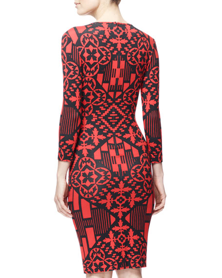 3/4-Sleeve Digital & Damask Jersey Dress, Black/Red