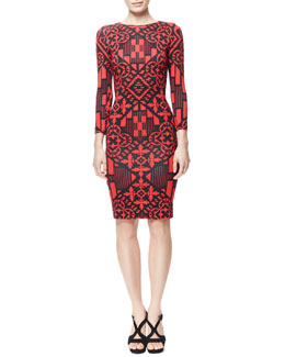 Alexander McQueen 3/4-Sleeve Digital & Damask Jersey Dress, Black/Red