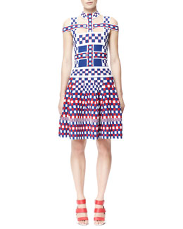 Alexander McQueen Off-Shoulder Check Harness Dress