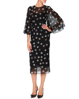 Dolce & Gabbana Chiffon Bell-Sleeve Midi Dress with Coin Print