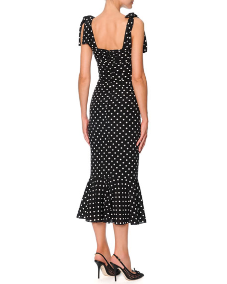 c44dc979b49 Dolce   Gabbana Bow-Shoulder Flounce-Hem Polka Dot Dress, Black White