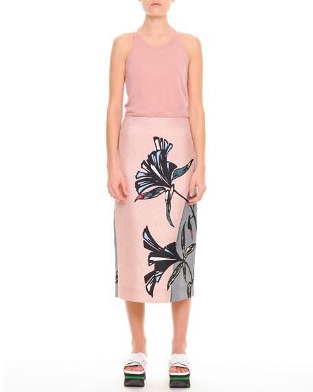 Large-Floral Midi Skirt
