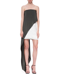 Narciso Rodriguez Strapless Draped Dress, Aqua/White
