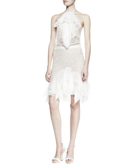 Nina Ricci Ruffled Lace Halter Dress